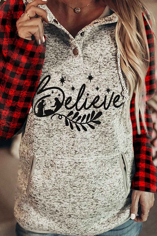 Believe Letter With Family Plaid Print Raglan Sleeves Color-block Christmas Hoodie