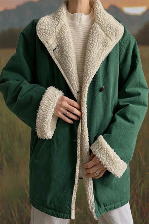 Vintage Solid Color-block Fuzzy Buttoned Lapel Collar Coat