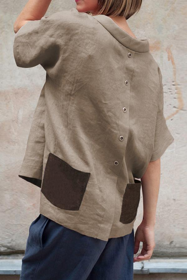 Linen Buttoned Back Pockets T-shirts