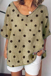 Polka Dot V Neck Casual T-shirt