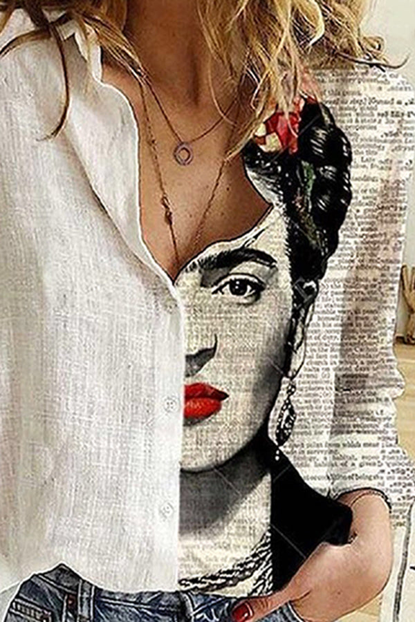 Frida Kahlo Sketch Painting Print Letter Color-block Artistic Buttoned Blouse