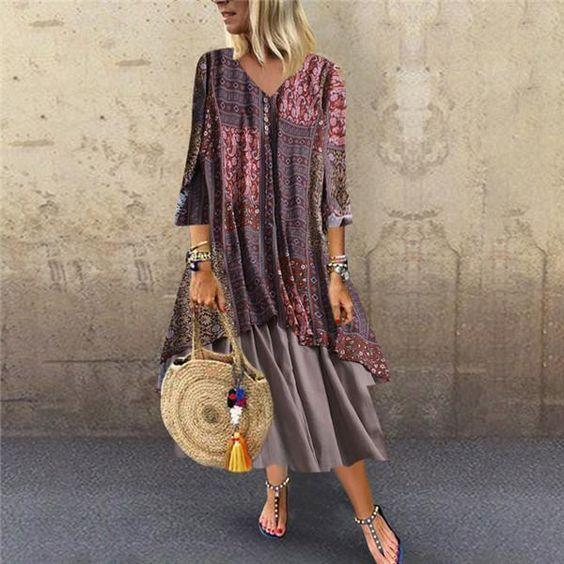 Casual Linen Buttoned-decor Fake Two Piece Maxi Dress