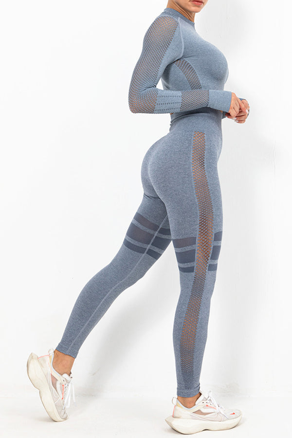 Striped Jacquard Hollow Out Cropped Top With Yoga Leggings Fitness Two-pieces Set