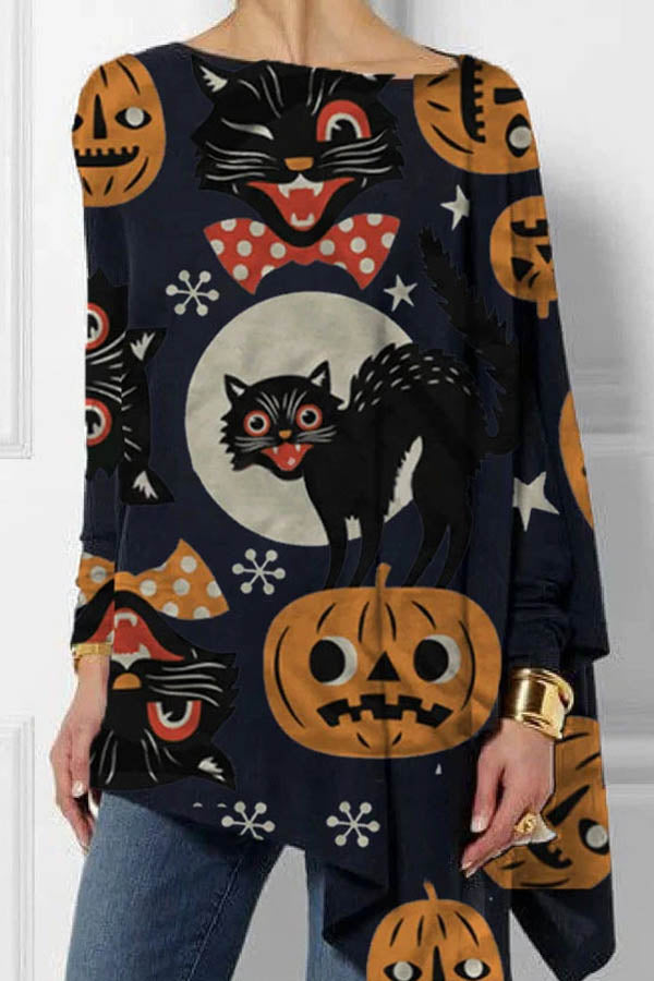 Halloween Meow Black Cat Cartoon Pumpkin Moon Print Irregular Hem T-shirt