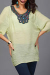 Paneled Beaded Embroidery Crew Neck Vintage Blouse