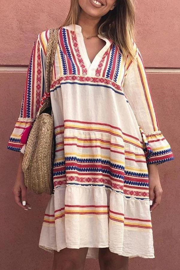 Striped Bell Sleeves V-neck Holiday Midi Dress