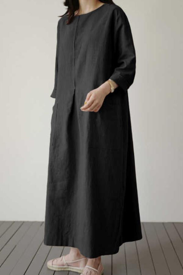 Solid Casual Round Neck Pockets Maxi Dress