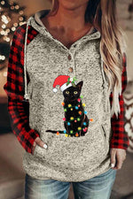 Black Cat With Colorful Bulb Plaid Print Color-block Raglan Sleeves Christmas Hoodie