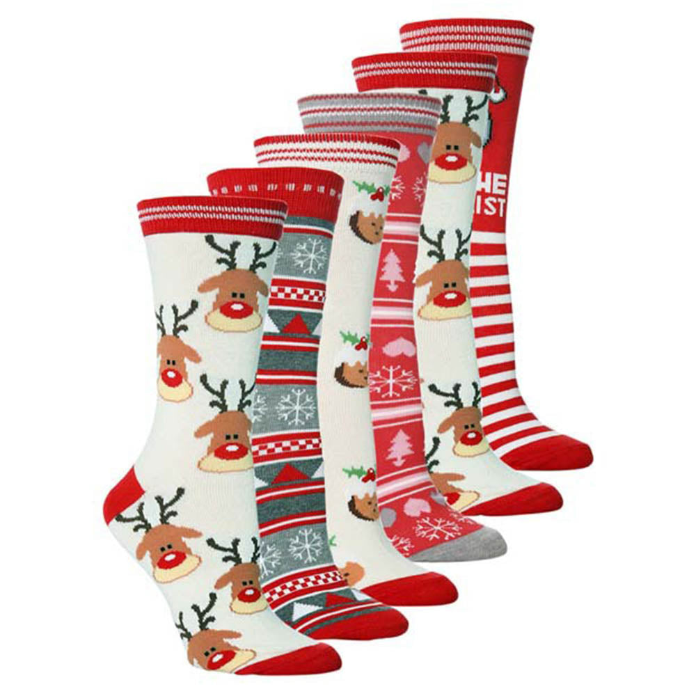 Christmas Elements Santa Claus Striped Jacquard Knitted Socks