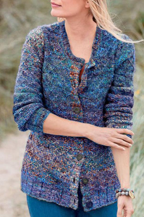 Colorful Knitted Button Down Sweater Coat