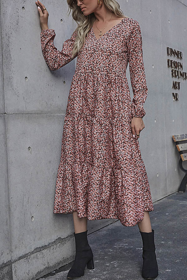 Sweety Holiday Women Floral Jacquard V-neck Midi Dress