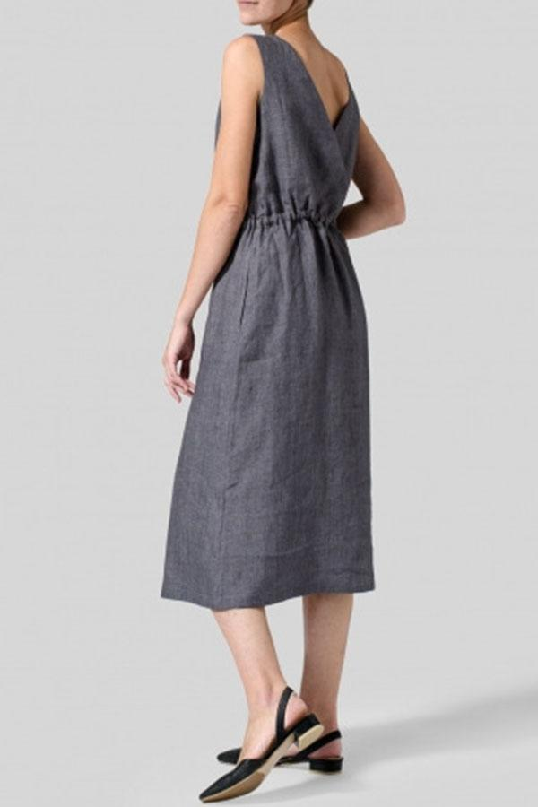 Paneled Button Self-tie Solid Casual Midi Dress