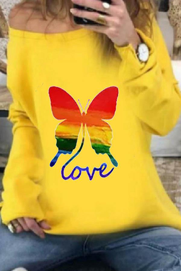 Rainbow Color Gradient Butterfly Love Print Casual T-shirt