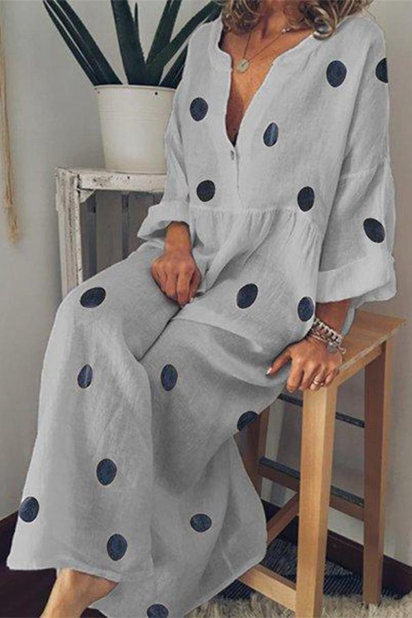 Linen Polka Dots Shift Daily Printed Maxi Dress