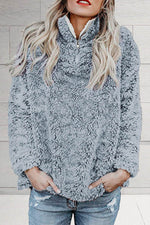 Holiday Solid Fuzzy Zipper Stand Collar Sweatshirt