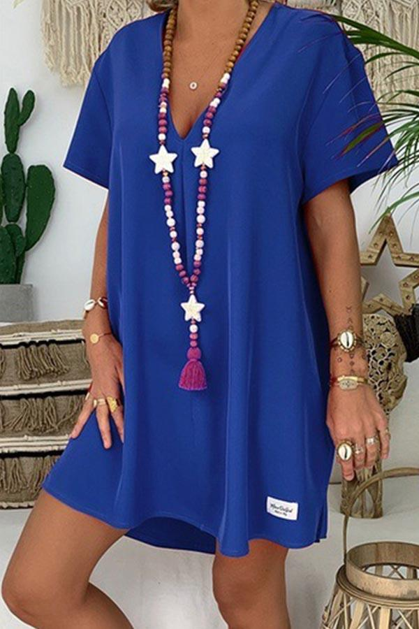 Solid Plunging Neck Short Sleeve Casual Mini Dress