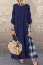 Linen Colorblock Grid Print Shift Maxi Dress