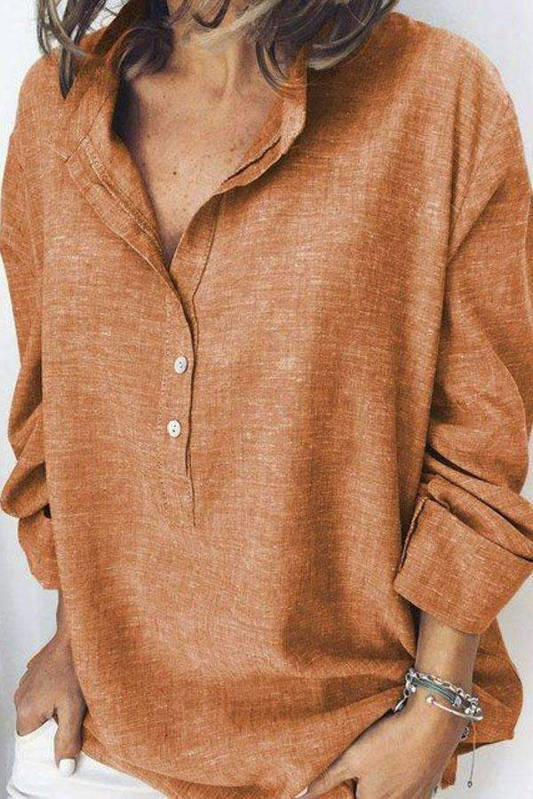 Linen Button Long Sleeves Casual Solid Blouse