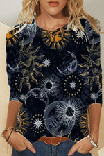 Bohemian Moon With Sun Face Print Shift Daily T-shirt