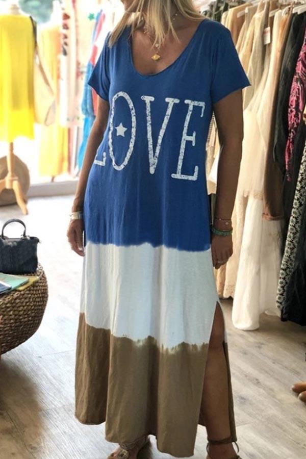Colorblock Casual Round Neck Letter Maxi Dresses
