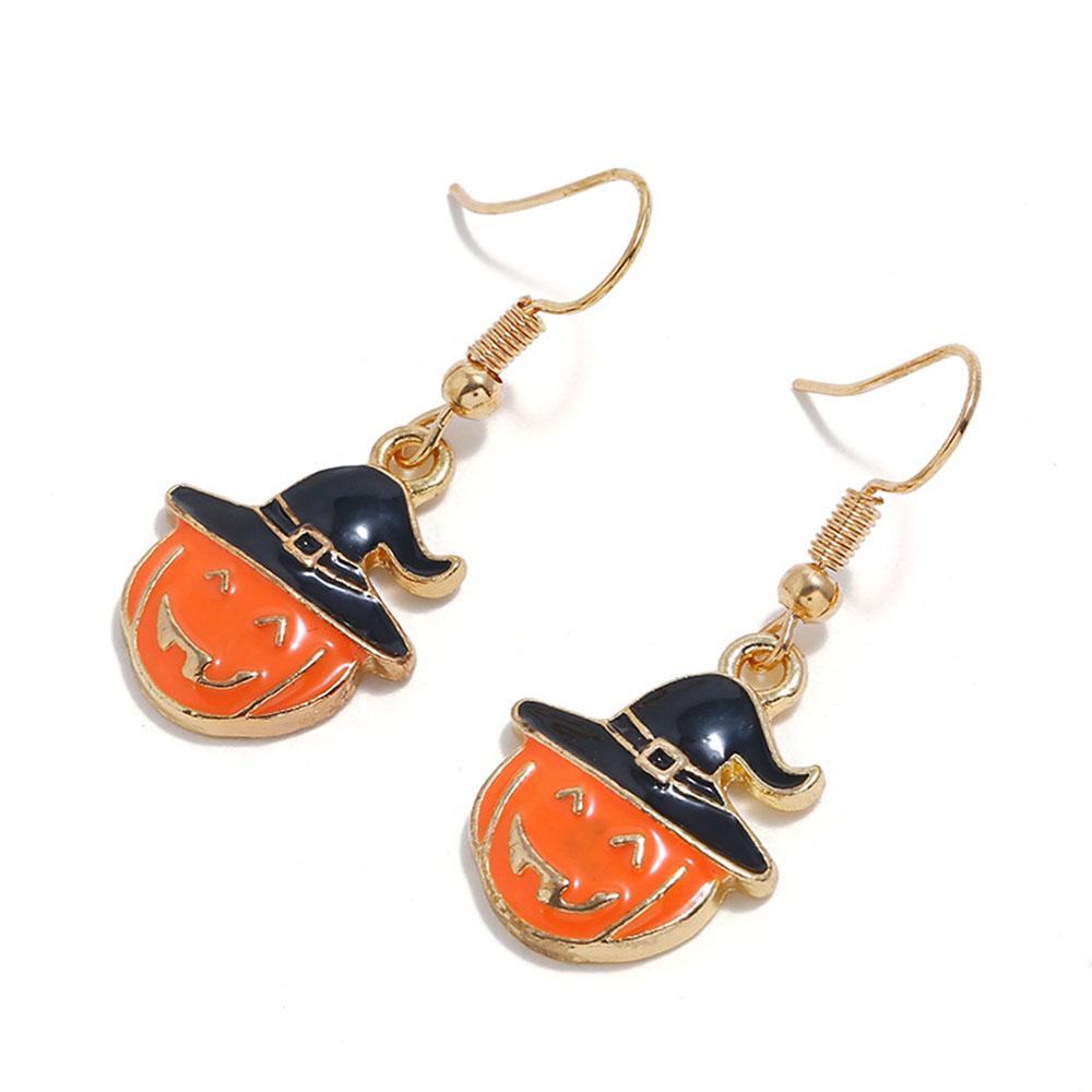 Halloween Pumpkin Smile Face With Witch Hat Eardrop Earrings