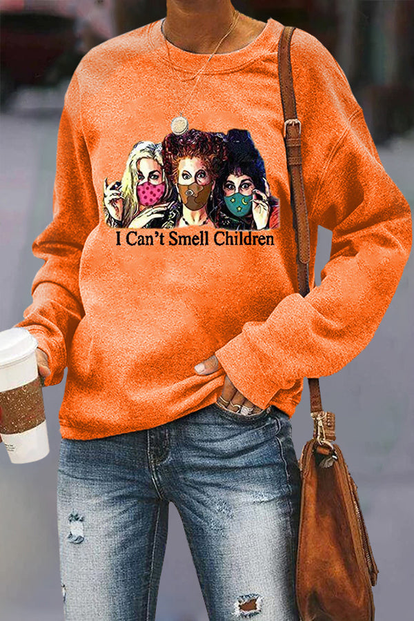 I Cant Smell Children Letter Three Witch Print Casual Sweatshirt