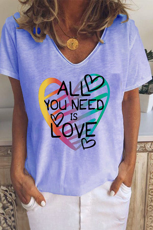 All You Need Is Love Letter And Heart Shape Printed Round Neck Short Sleeve T-Shirt