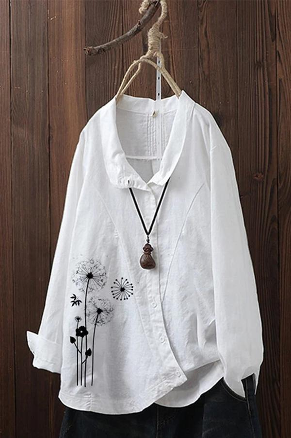 Casual Dandelion Printed Turn Down Neck Linen Blouse