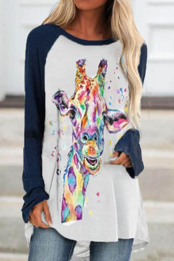 Abstract Gradient Colorful Cow Print Raglan Sleeves Color-block Casual T-shirt