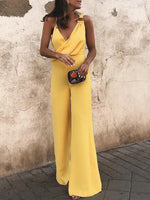 Solid Spaghetti Wide Leg Sleeveless Jumpsuit