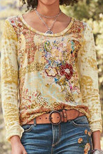 Casual Floral Print Crew Neck T-shirts