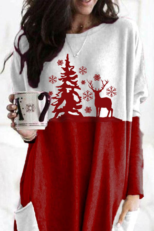 Sweety Christmas Tree Elk Snowflake Print Color-block Paneled Pockets T-shirt