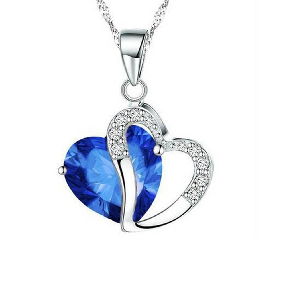 Two Heart Pendant Valentine Decoration Romantic Necklace