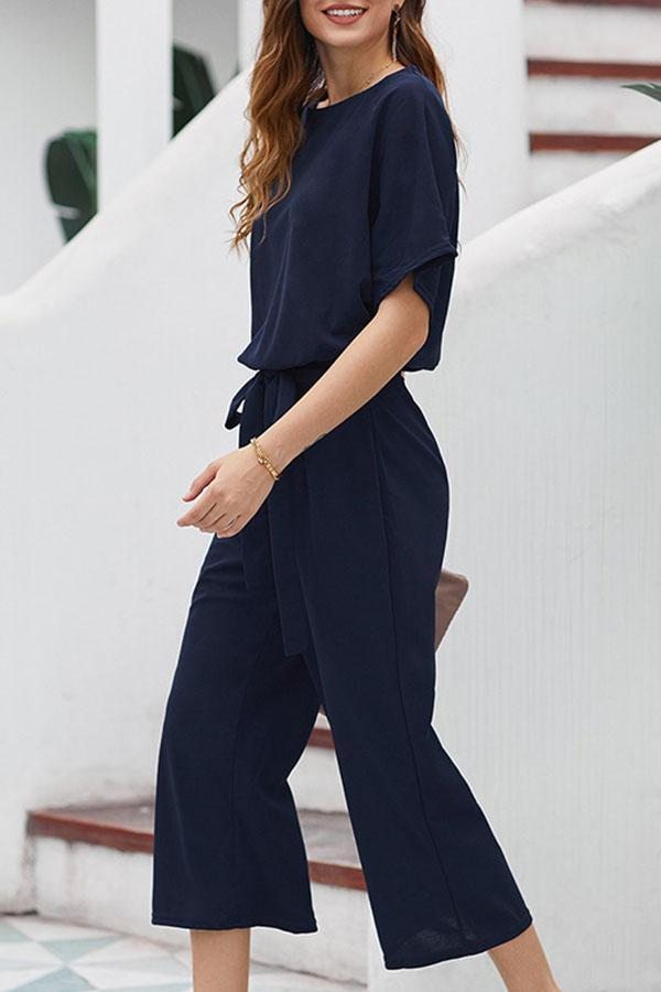 Solid Self-tie Cutout Casual Wide Leg Jumpsuit