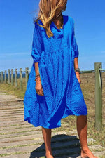 V Neck Casual Loose Midi Dress