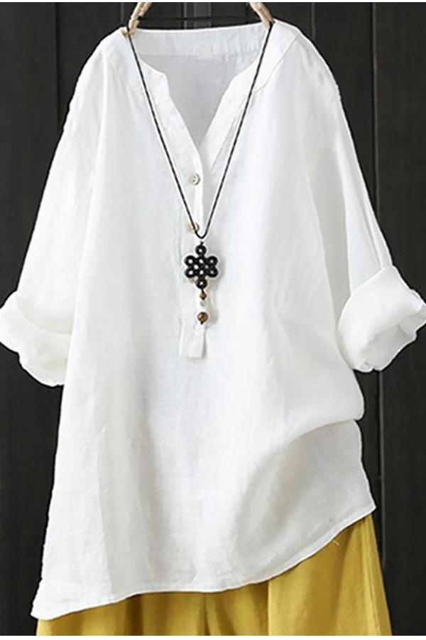 Casual Solid Buttoned V-neck Long Sleeves Blouse