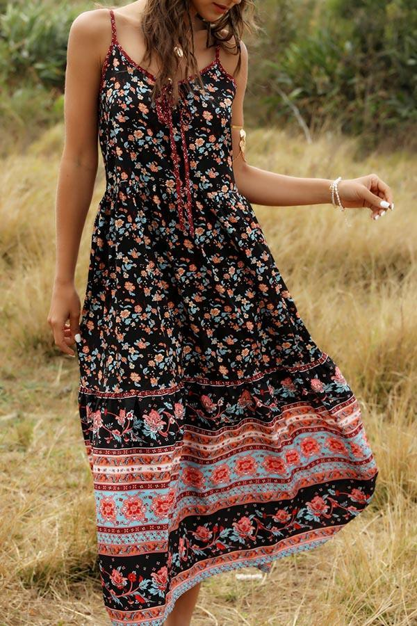 Floral Backless Spaghetti A-line Casual Midi Dress