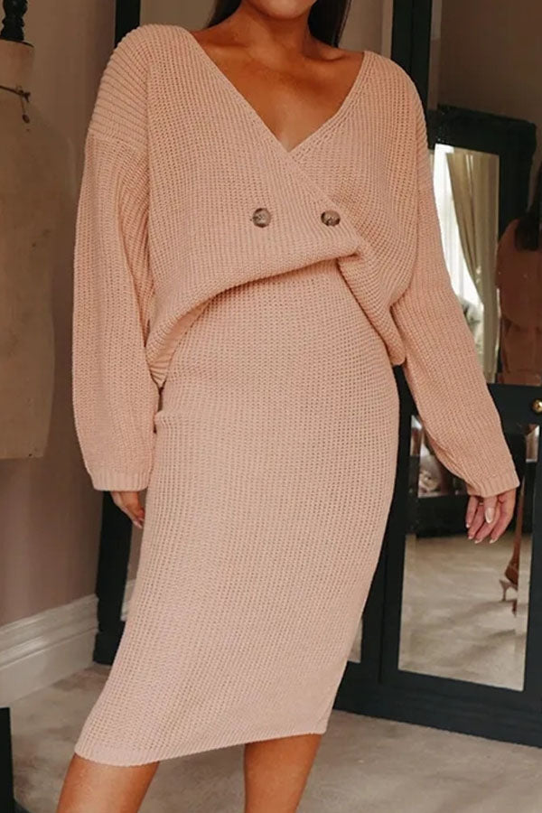 Elegant Solid Knitted Buttoned Plunging Neck Sweater With Sweater Skirt Two-pieces Set