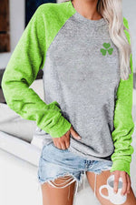 Casual Holiday Clover Printed Round Neck Long Sleeve T-Shirt