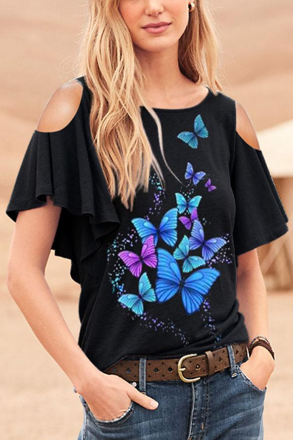Casual Butterfly Print Cold Shoulder Bell Sleeves Blouse