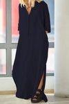Linen 3/4 Length Sleeves Slit Hem Maxi Dress