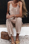 Casual Sleeveless Stripe Sling Jumpsuits