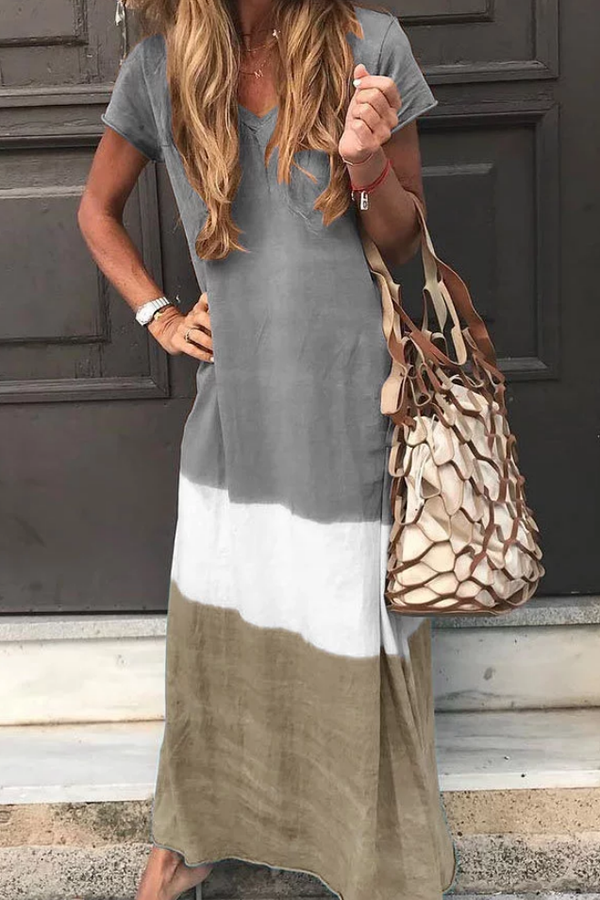 Print Short Sleeves V-neck Casual Maxi Dress