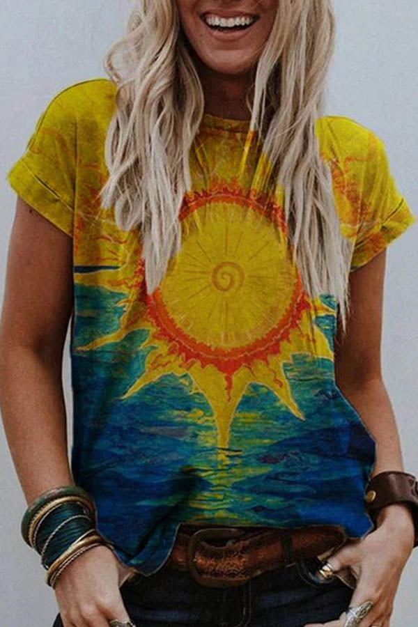 Artistic Abstract Colorful Gradient Painting Print Shift T-shirt