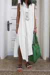 Vintage Linen Slit Side Irregular Maxi Dress