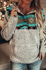 Gradient AZTEC Print Street Front Pocket Buttoned Drawstring Hoodie
