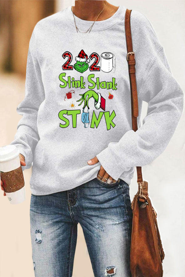 2020 Stink Stank Stunk Fuzzy Letter Grinch Stole Print Christmas T-shirt