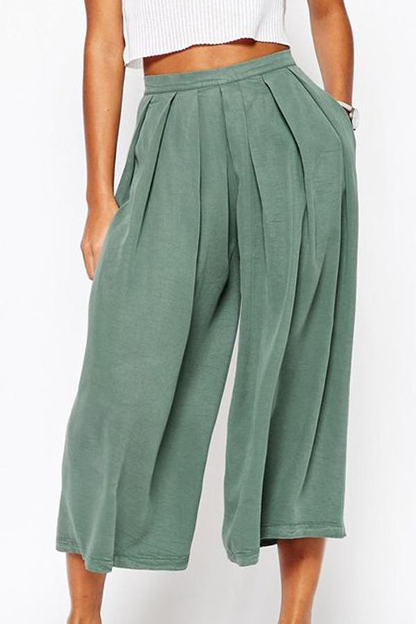 Wide Legs Ruffle Casual Linen Pants