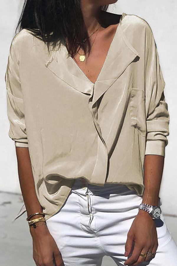 Chiffon V-neck Long Sleeve Pockets Blouse