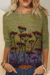 Casual Dandelion Printed Round Neck Long Sleeve Shift T-Shirt